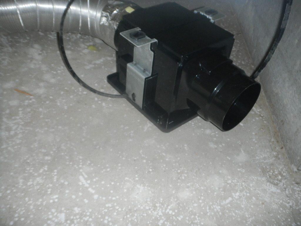 床下にある換気扇周囲のカビ