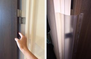 ドアを開く際の隙間を覆う商品
